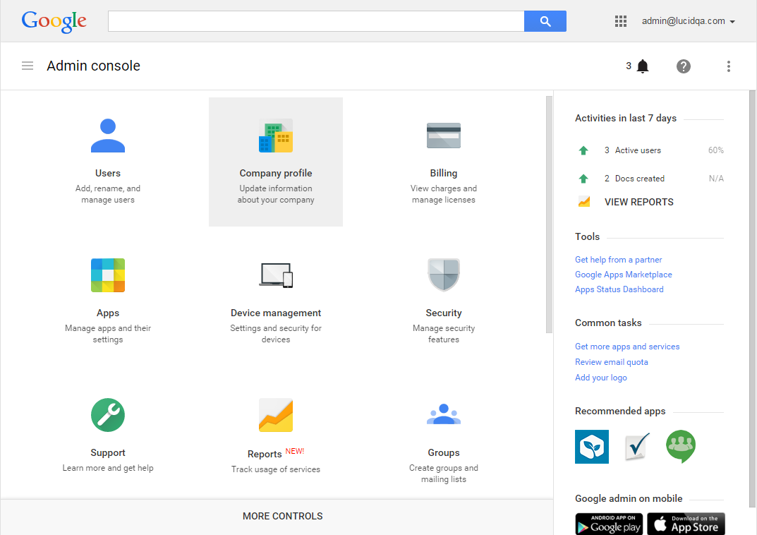 Console de administrador do G Suite