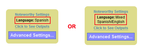 Image of two summary stickies highlighting the language selection