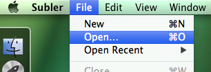 "Image of the ""File"" menu, highlighting the ""Open"" option"