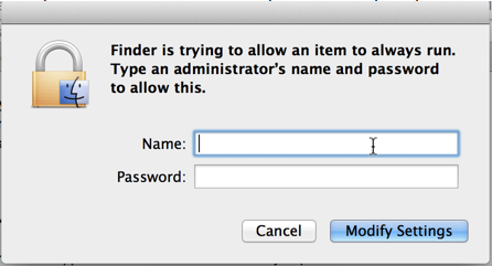 Image of a Finder dialog box, asking for an administrator name and password