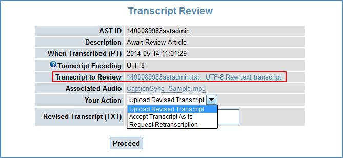 Image of the Transcript Review page, highlighting the transcript file link