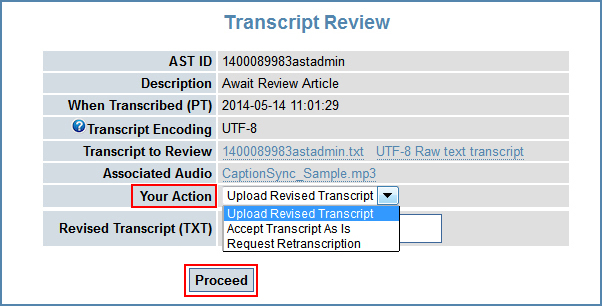 Image of the Transcript Review page, highlighting the Your Action drop-down menu