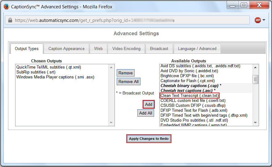 Image of the Advanced Settings dialog box, highlighting the Clean Text Transcript output and the Apply Changes to Redo button