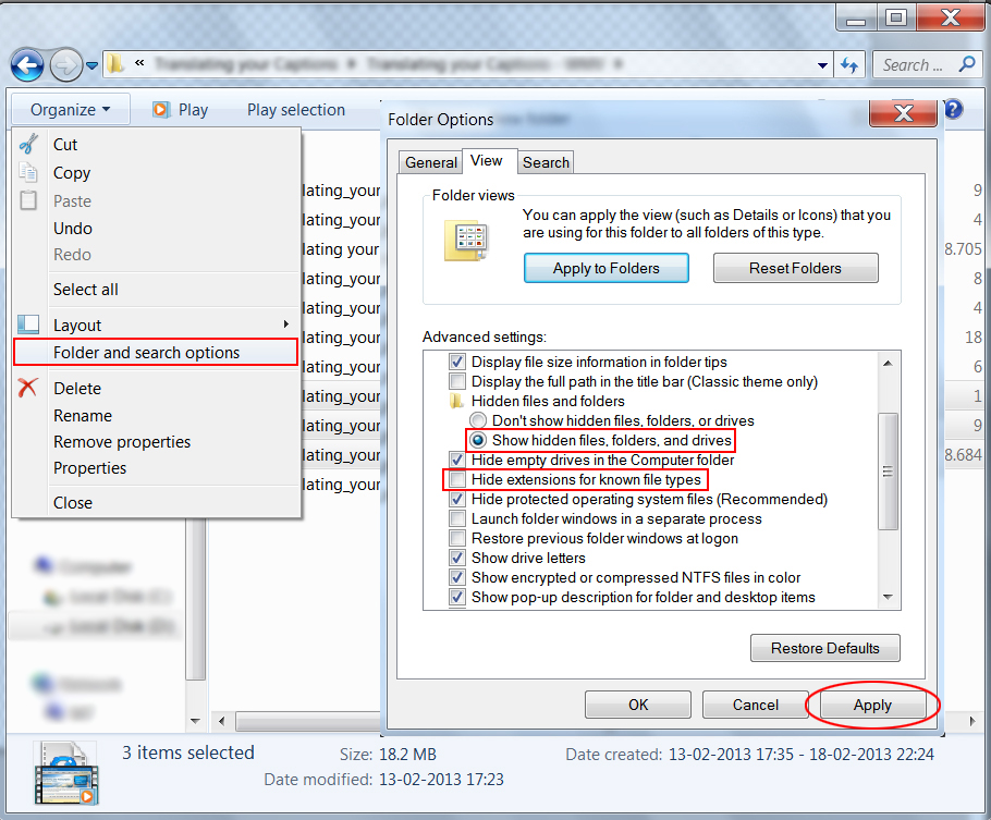 "Image of the File Explorer window, highlighting the selected ""Folder and Search Options"" choice and the options selected in its dialog box"