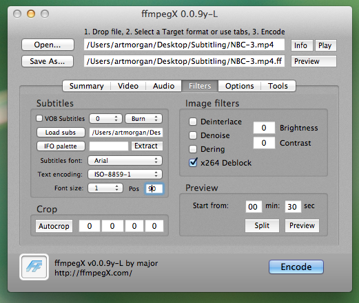 ffmpegX dialog box, showing the Filters tab