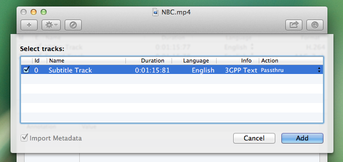 "Image of the ""Select Tracks"" dialog box, on the NBC.mp4 File Explorer window, highlighting an SRT file"