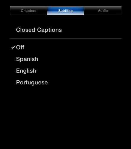 Picture of the Apple TV interface, highlighting the Subtitles menu