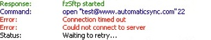 "Image of the top status pane, with the message ""Connection timed out"""