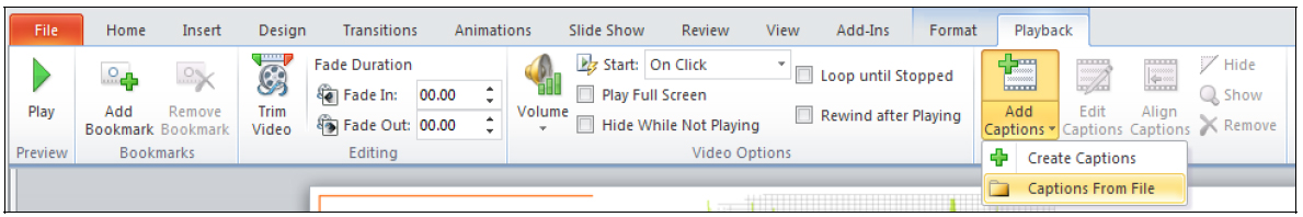 Image of the PowerPoint interface, highlighting the Add Captions button, on the Playback tab under Video Tools