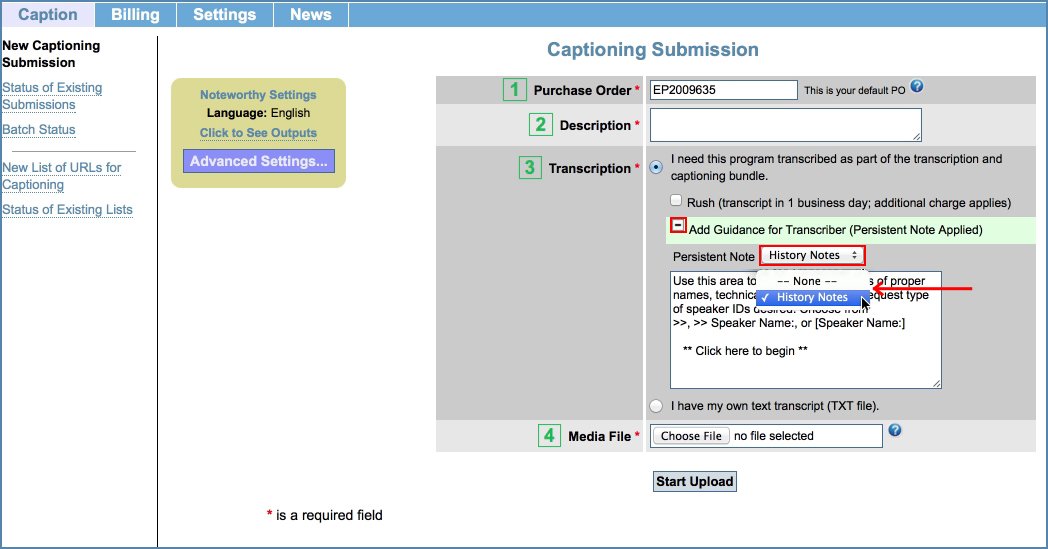 Image of the New Captioning Submission page, highlighting the Guidance section