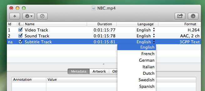 Image of the File Explorer window, for the NBC.mp4 file, highlighting an SRT file language drop-down menu
