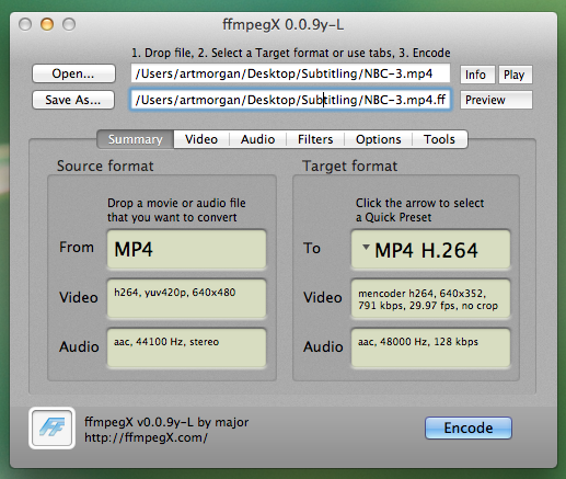 ffmpegX dialog box, showing the Summary tab