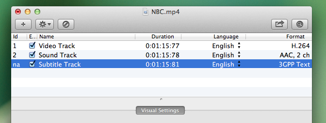 Image of the File Explorer window, for the NBC.mp4 file, highlighting an SRT file