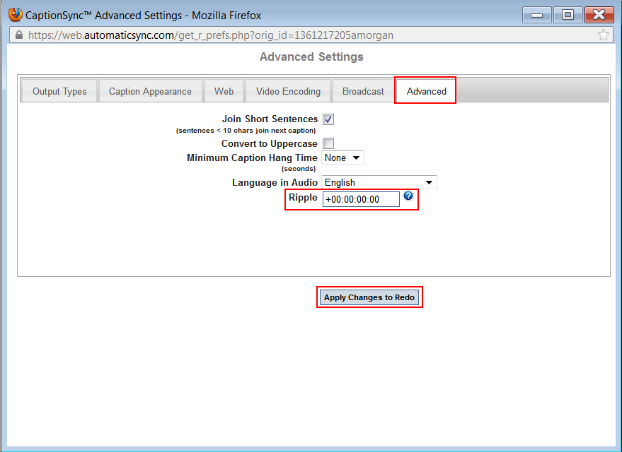 Image of the Advanced tab, on the Advanced Settings dialog box