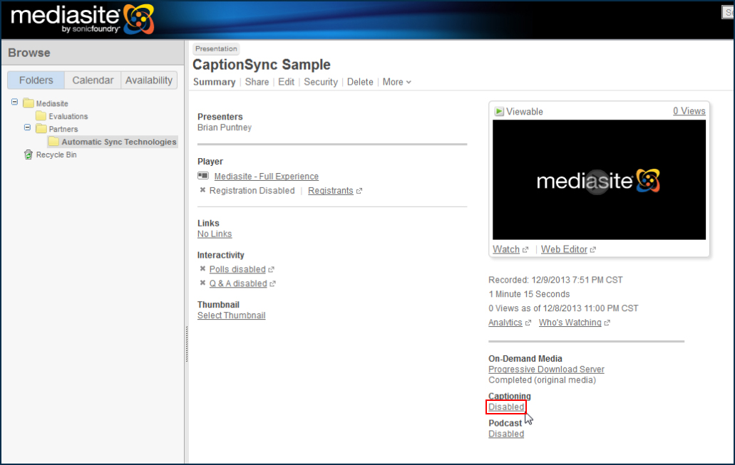 Image of the Mediasite interface, highlighting the Disabled link