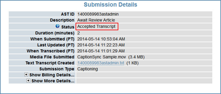 Image of the Submission Details page, highlighting the Status field