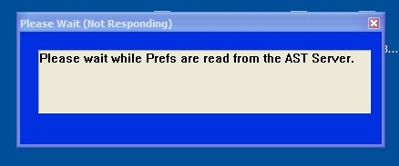 "Image of a Message Box stating ""Please wait while Prefs are read from the AST server"""