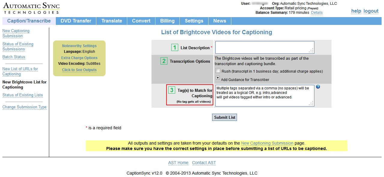 Image of the List of Brightcove Videos for Captioning page