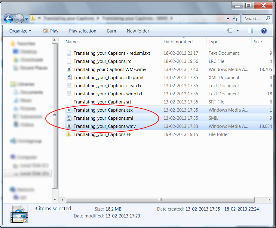 Image of the File Explorer window, highlighting three files with the same basename