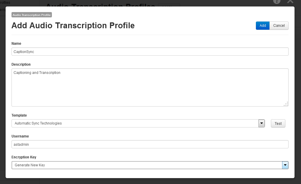 Image of the Add Audio Transcription Profile page