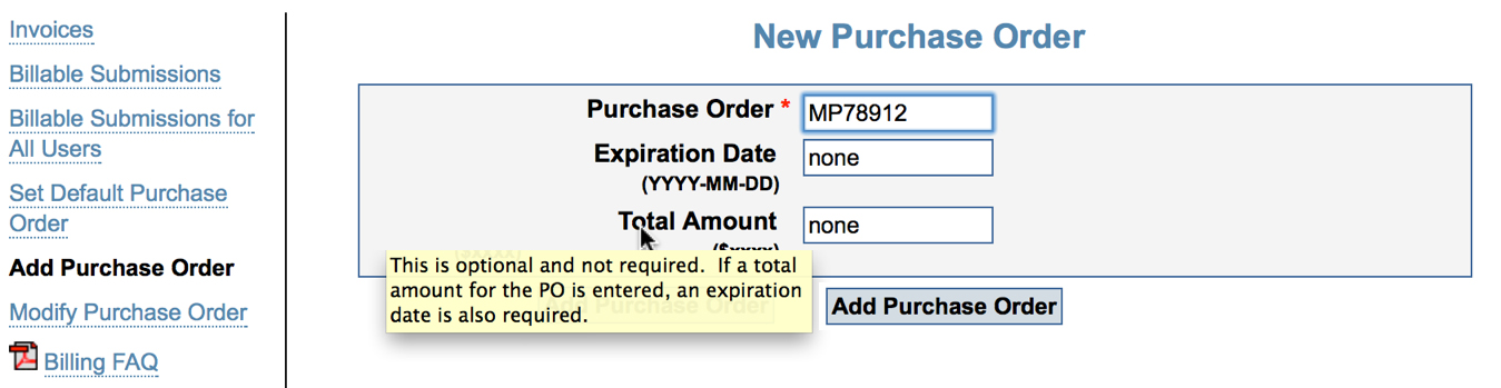 Image of the New Purchase Order page