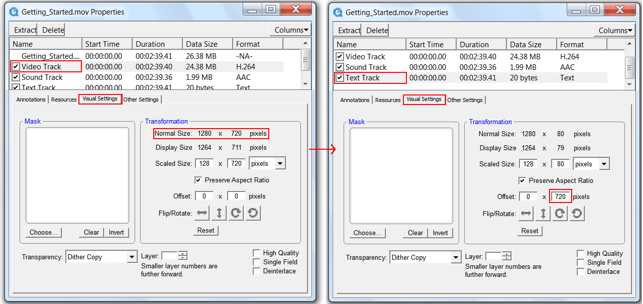 Images of the Properties dialog box, highlighting the Visual Settings tab and several fields