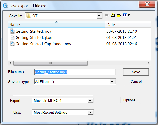 Image of the Save Exported File As dialog box, highlighting the Save button