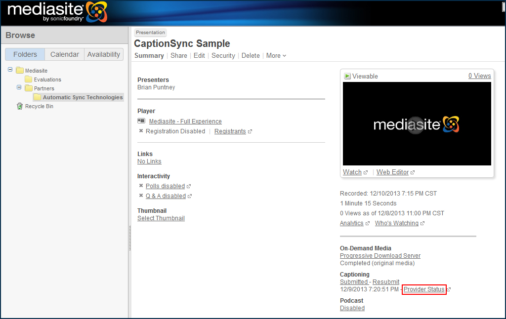 Image of the Mediasite interface, highlighting the Provider Status link