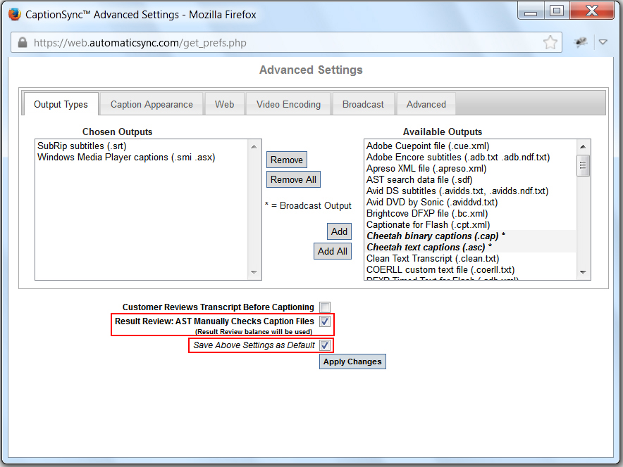 Image of the Advanced Settings dialog box, highlighting the Result Review and the Save Settings as Default checkboxes