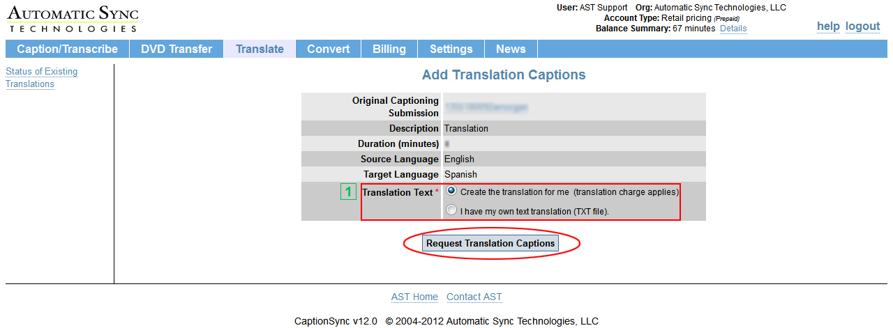 Image of the Add Translation Captions page