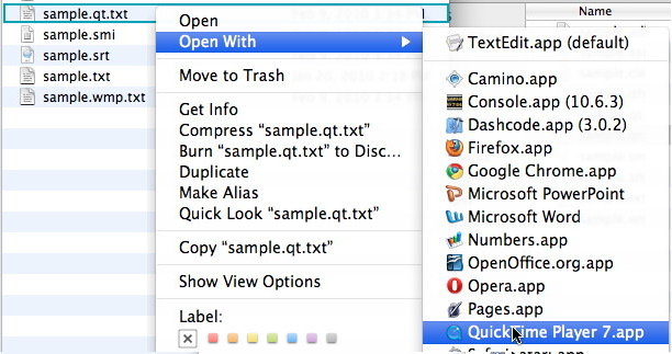 "Image of ""Open With QuickTime Player 7"" option selected on the Right-Click Menu of a highlighted file"