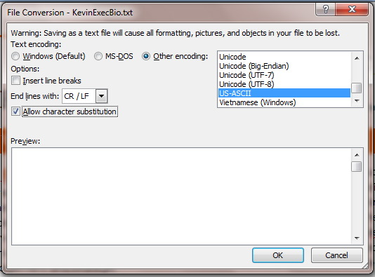 Image of the Word File Conversion Dialog Box