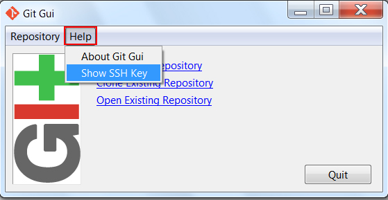 Image of the Git GUI interface, highlighting the Help menu