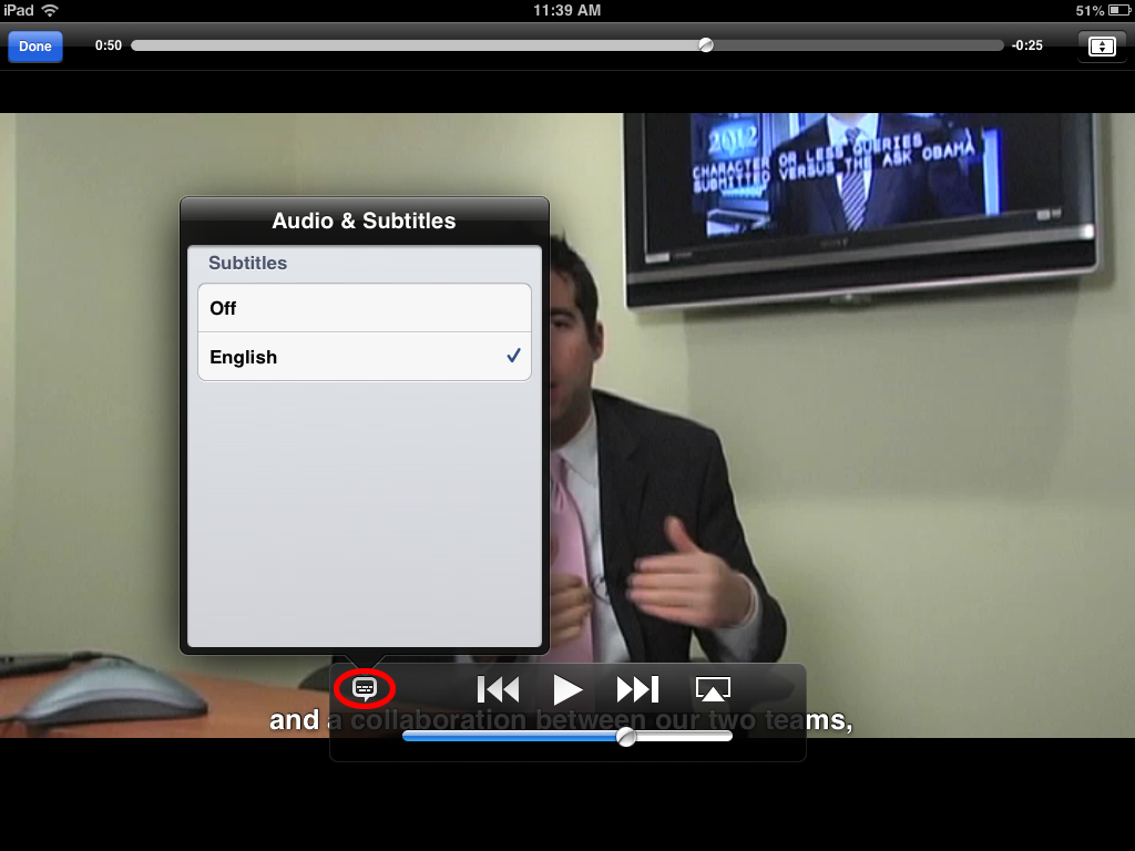 Picture of the iPad 2 player, highlighting the Caption bubble and the Subtitles menu