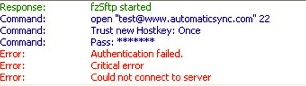 "Image of the top status pane, with the message ""Authentication failed"""
