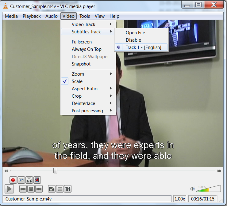 Picture of the VLC player, highlighting the Video menu and the Subtitles Track menu