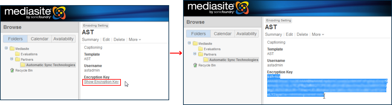 Two images of the Mediasite interface, highlighting the Show Encryption Key link and the new key