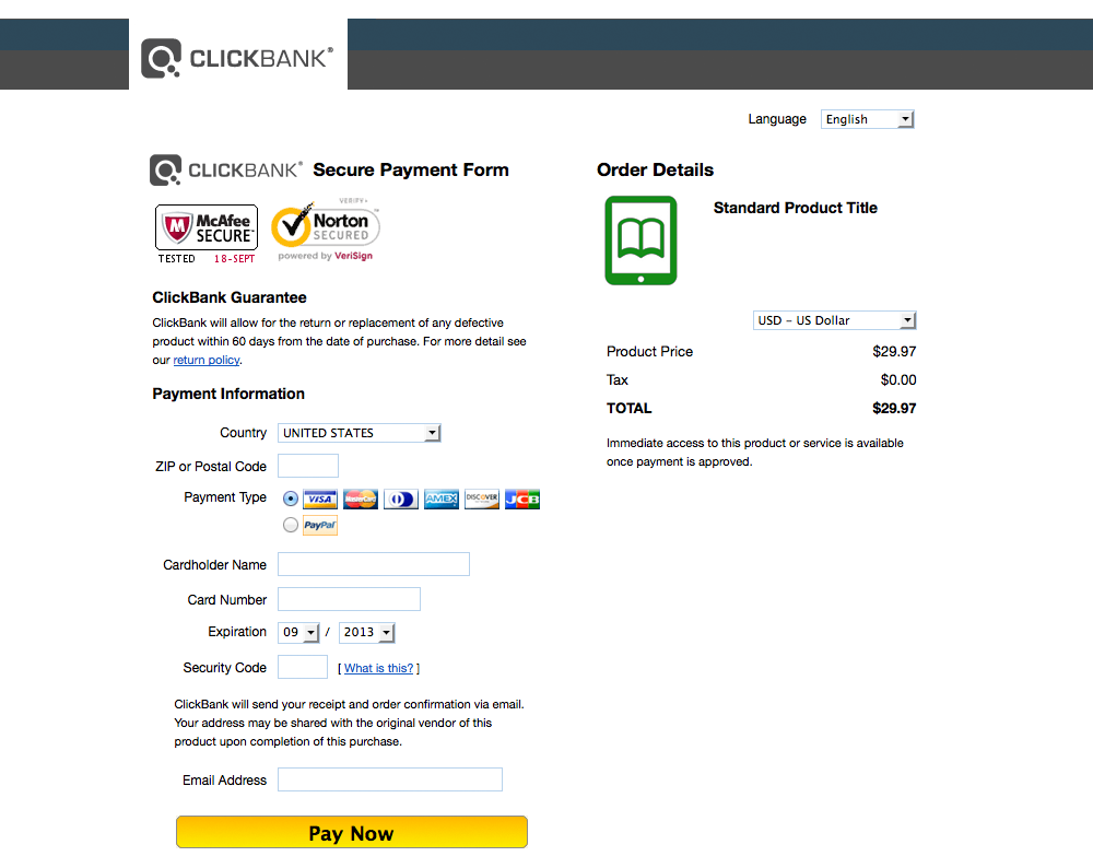 This image shows the default ClickBank order form. It contains security badges, fields for the customer's payment information, a Pay Now button, and a summary of the order details. The background is all white, and the header bar contains only the ClickBank logo.