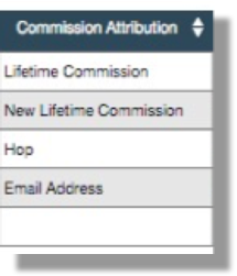 THis image shows the different Commission Attribution column values. The values are Lifetime Commission, New Lifetime Commission, Hop, and Email Address.