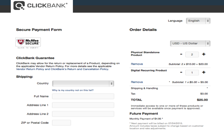 This image shows a cart order form with editable quantity. The left side of the order form shows the McAfee Secure verification image, the ClickBank guarantee, and the shipping information fields. The right side shows the order details, including the names of the two products, the current quantity for each product with plus and minus icons that the user can use to increase or decrease the quantity, the subtotal for each listed item, the total including tax, and details about future payments.