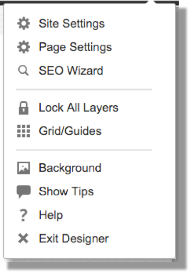 This image shows the Manage Site menu in GoDaddy, including the Site Settings option which the user should click. The other settings are Page Settings, SEO Wizard, Lock All Layers, Grid/Guides, Background, Show Tips, Help, and Exit Designer.