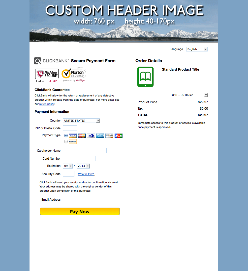 This image shows a custom ClickBank order form. It contains security badges, fields for the customer's payment information, a Pay Now button, and a summary of the order details. The background is white in the center and blue on the left and right margins. The header bar contains a vendor-specific image above the ClickBank logo.