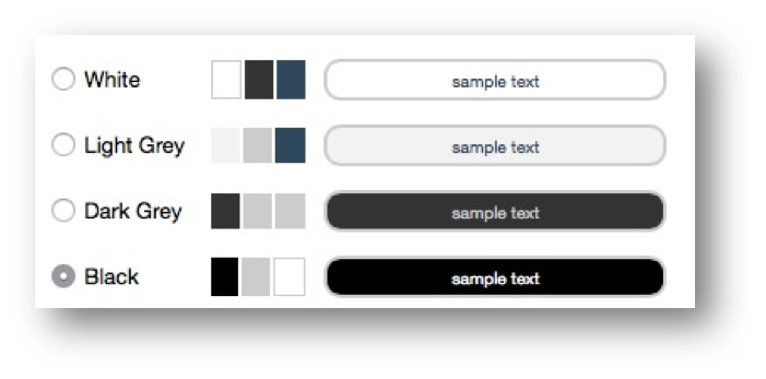 This image shows the greyscale color palette options. The options are White, Light Grey, Dark Grey, and Black. Black is selected.