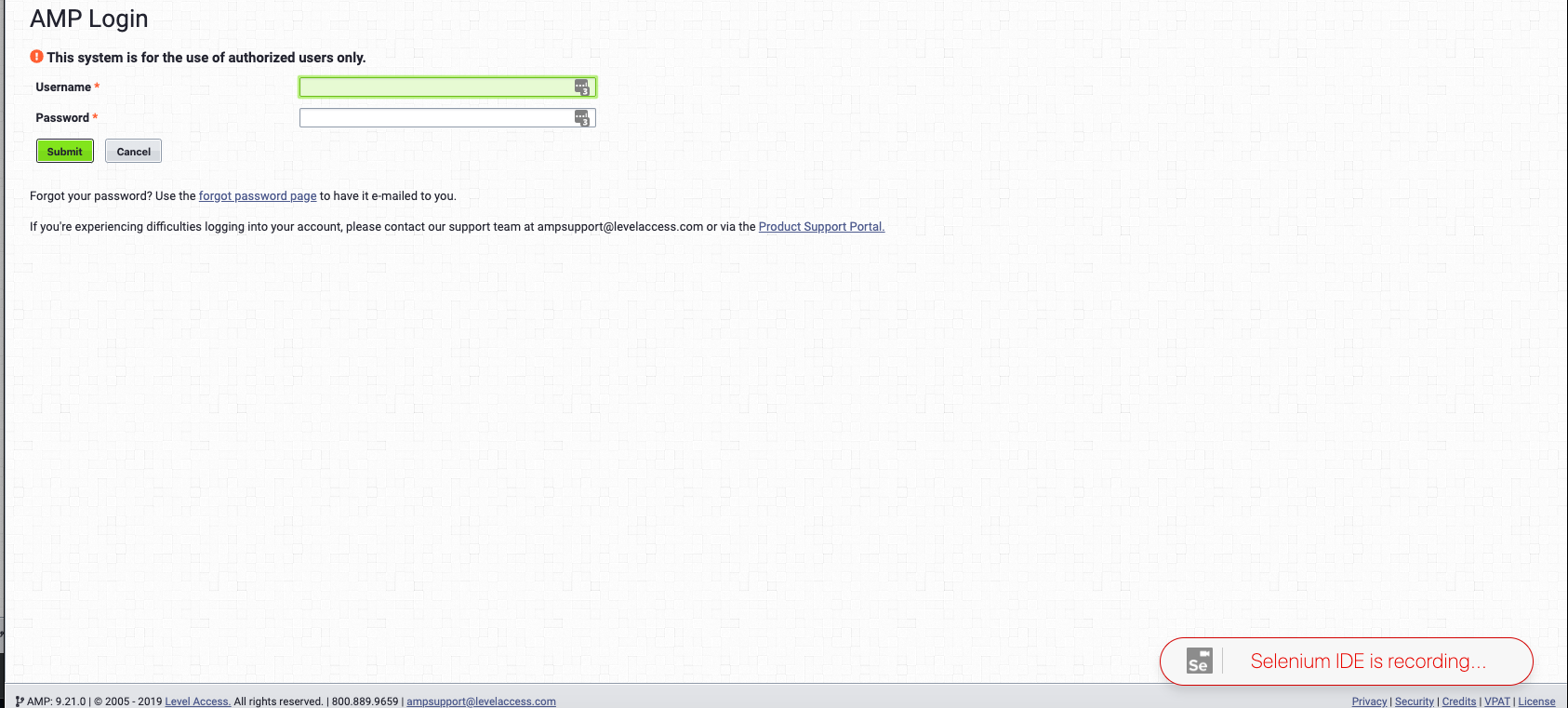 Screenshot of the sample test site with a a red Selenium IDE is recording...   image on the bottom
